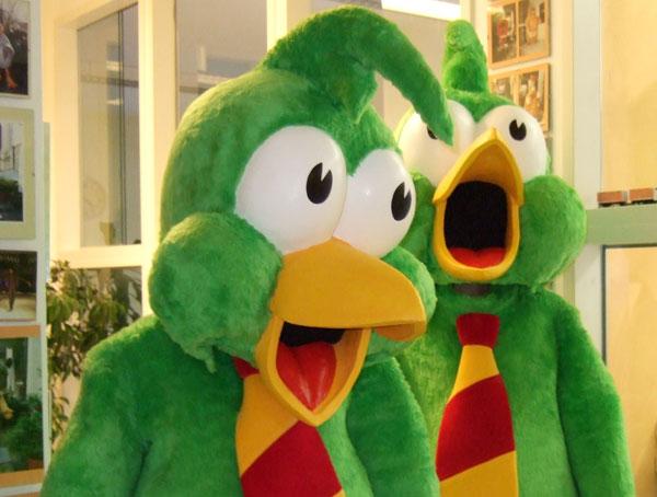 Kostümproduktion der lustigen Greenfink Maskottchen